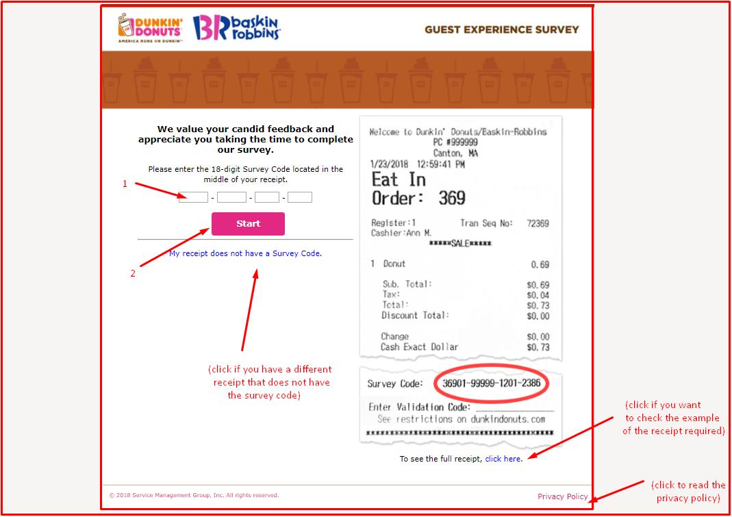 www.TellDunkin.com Dunkin Donuts Survey