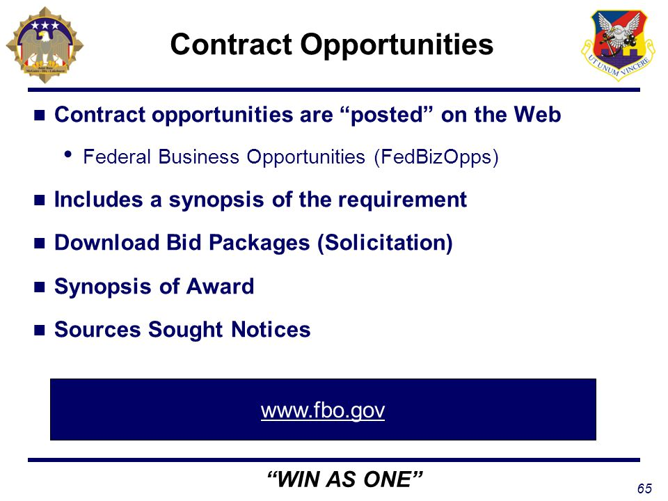 Federal Business Opportunities – FedBizOpps – at FBO.gov
